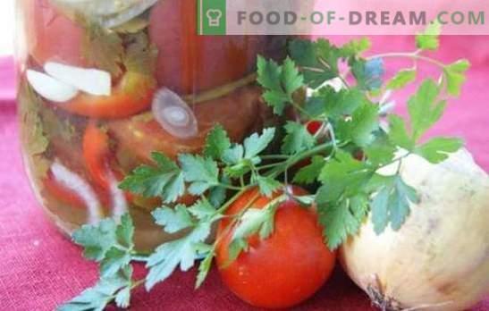 Paradižnikova solata s čebulo za zimo: lepa sladka in pikantna sestava. Zbirka najboljših solatnih receptov za zimo s paradižnikom in čebulo