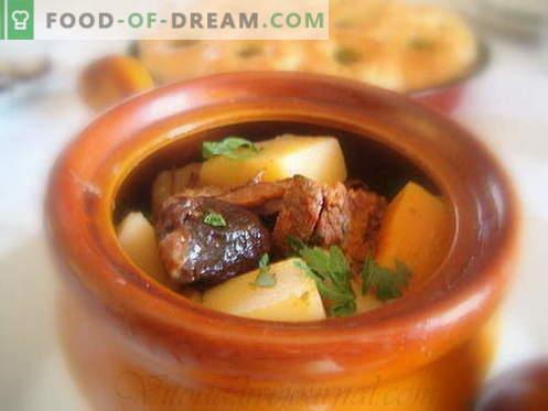 Bulvės su mėsa yra geriausi receptai. Kaip tinkamai ir skaniai virti bulves su mėsa puoduose.