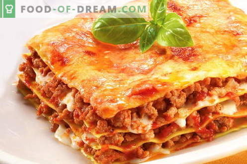 Lasagna - geriausi receptai. Kaip tinkamai ir skaniai virti lasagna.