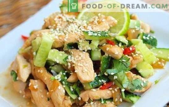 Salotos su vištienos krūtinėliais ir agurkais - užkandis, kuris nėra gėda gydyti. Geriausi salotų receptai su vištienos krūtimi ir agurkais