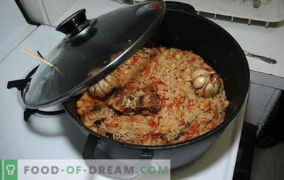 Plov į keptuvę - ne blogiau nei katiluose! Pilaf receptai keptuvėje: vegetaras, su kiauliena, jautiena, vištiena ir triušiu