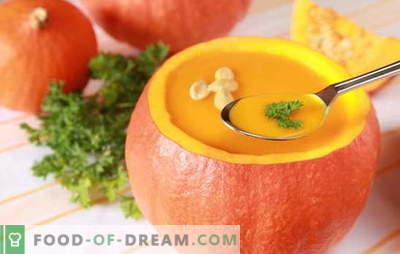 Šviesus ir subtilus moliūgų kremo sriuba: receptai ir virimo gudrybės. Originalus pristatymas ir naudingų moliūgų grietinėlės sriubų receptas