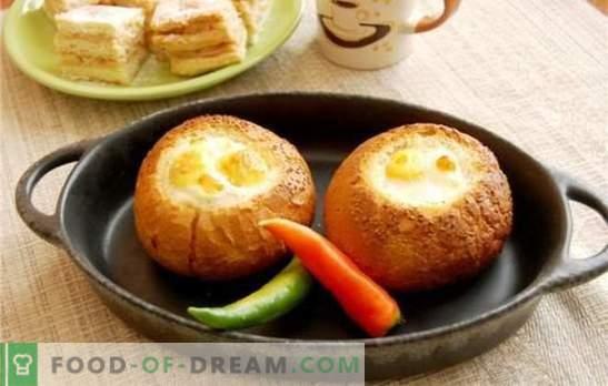 Kiaušinienės kepta duona - jei yra paprastas, pavargęs! Originalių kepta kiaušinių receptai duonos su sūriu, dešra, pomidorais