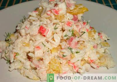 Krabų salotos su ryžiais įrodytais receptais. Kaip virti krabų salotas su ryžiais.