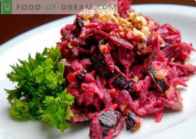 Burokėliai, riešutmedžio ir slyvų salotos - geriausi receptai. Kaip tinkamai ir skaniai virti salotos su burokėliais, riešutais ir slyvomis.