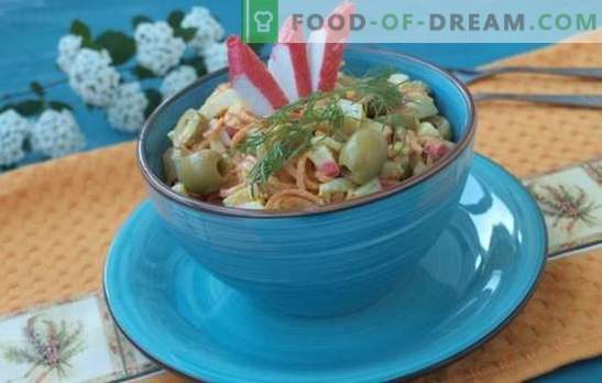 Krabų salotos su morkomis - biudžeto užkandis. Krabų salotos su morkomis receptai: maitinantis ir lengvasis mityba
