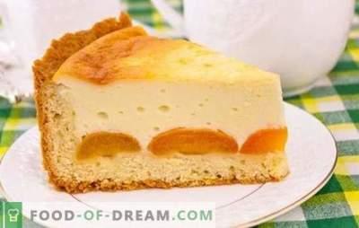 Kotedžas ir abrikosų pyragas yra skanus, sveikas desertas. Receptai varškės pyragams ir abrikosams iš įvairių rūšių tešlos