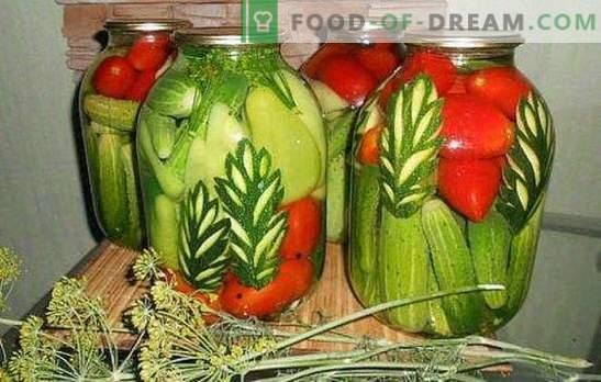 Įvairūs agurkai: kaip tai padaryti Pasirinkus asortimentą agurkų marinatą su pomidorais, žiediniais kopūstais, cukinijomis, paprikomis