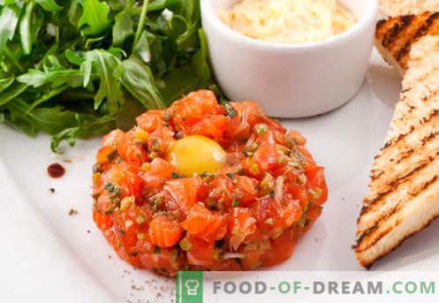 Lašišos tartaras - geriausi receptai. Kaip tinkamai ir skaniai virti lašišų tartarą.