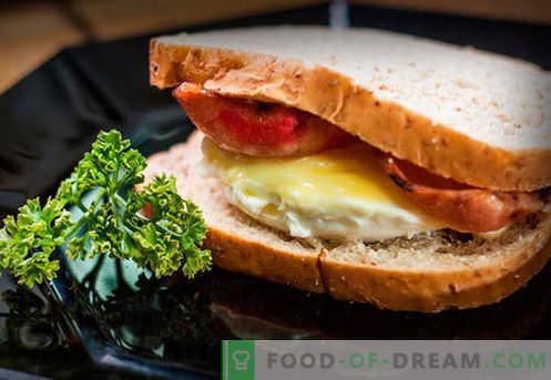 Kiaušinių sumuštiniai yra geriausi receptai. Kaip greitai ir skaniai virti sumuštinius su kiaušiniu.