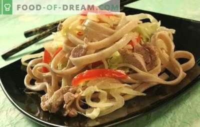Makaronai su kiauliena: daug būdų paruošti ir aptarnauti paprastą patiekalą. Kaip skanūs ir greitai virti makaronai su kiauliena