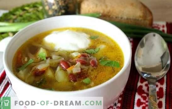 sriuba su pupelėmis - tradicinis karštas patiekalas naujajame variante. Geriausi kopūstų sriubos receptai su pupelėmis, kopūstais, baklažanais, grybais