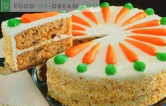 Klasikinis morkų pyragas - sultingas rudens desertas. Klasikinis morkų tortas su prieskoniais, grietinėlės sūriu, riešutais, šokoladu