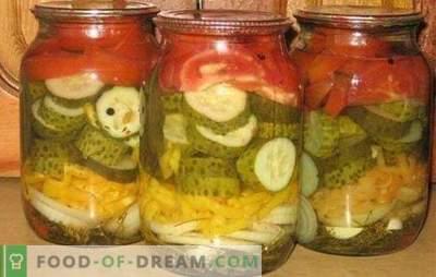 Agurkai ir pomidorų salotos žiemai yra sveikas vitamino kompleksas. Klasikiniai ir originalūs agurkų ir pomidorų salotos receptai žiemai